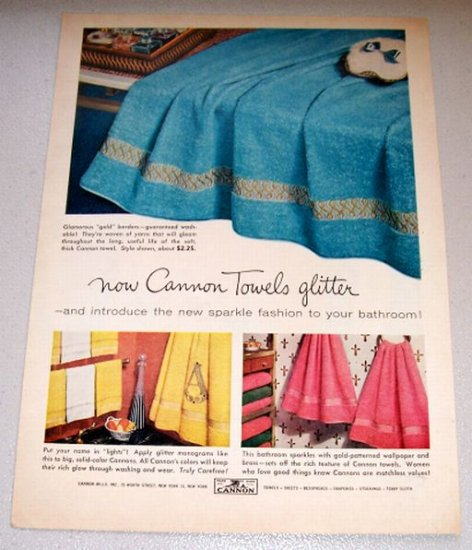 1956 Color Print Ad Cannon Glitter Towels