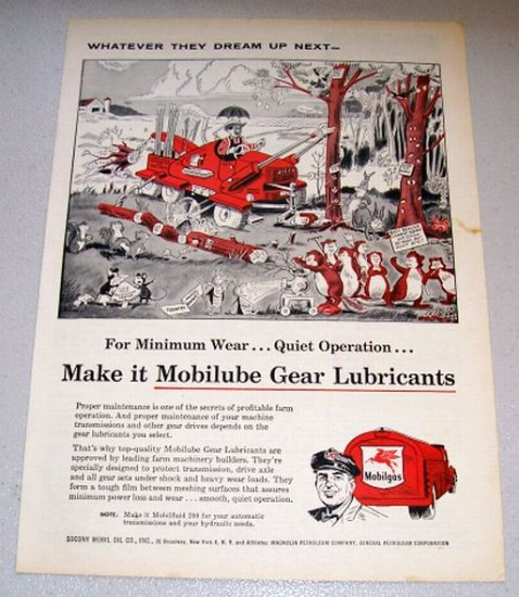 1956 Color Art Print Ad Socony Mobile Oil - Jiffy Field Clearer