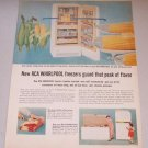 1956 Color Print Ad RCA Whirlpool Upright Freezer