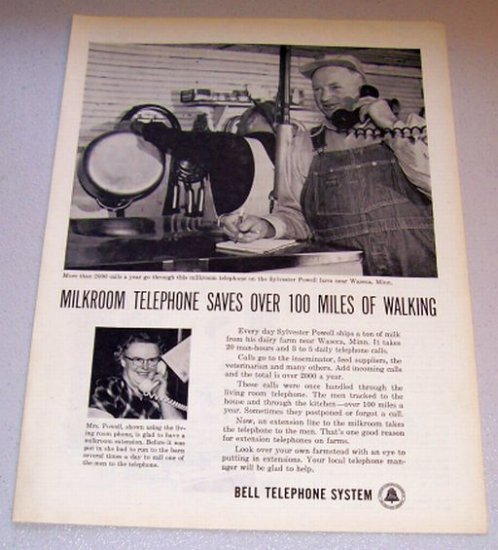1958 Print Ad Bell Telephone System Milkroom Sylvester Powell Waseca Minn