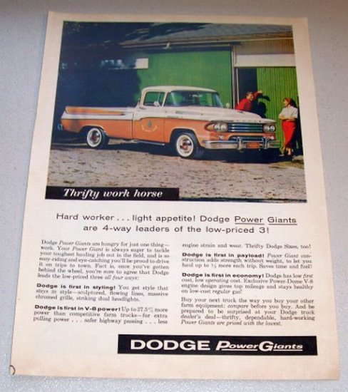 1958 Color Print Truck Ad Dodge 100 Pickup Hilltree Farm