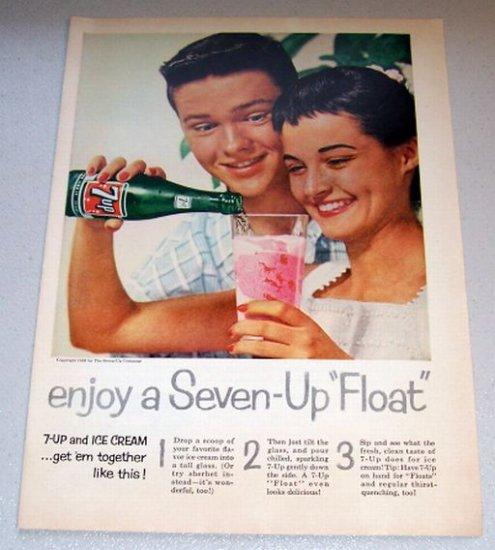 1958 Color Print Beverage Ad 7UP Soda Ice Cream Float
