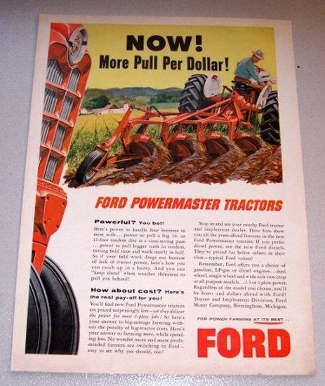1958 Color Farm Print Ad Ford Powermaster Tractors