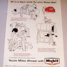 1958 Print Ad Socony Mobile Oil - All In A Days Work