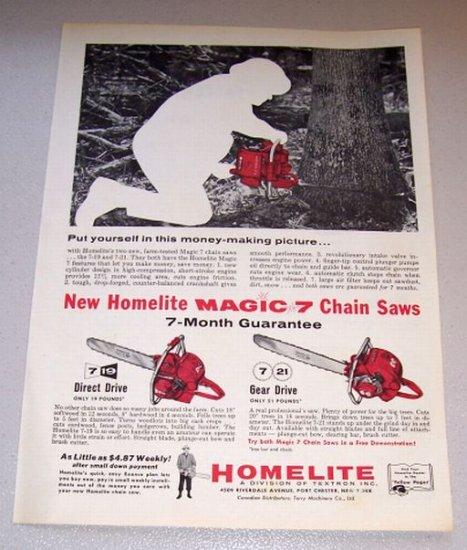 1958 Print Ad Homelite 7-19 7-21 Power Chain Saws