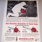 1958 Print Ad Homelite 7-19 7-21 Power Chain Saws