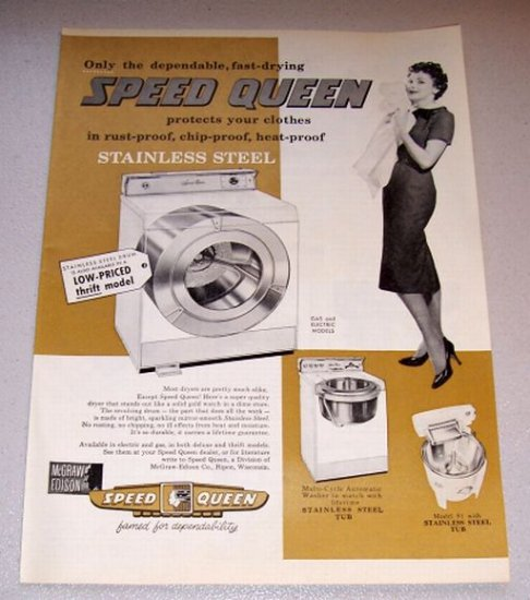 1958 Print Ad Speed Queen Stainless Steel Dryer
