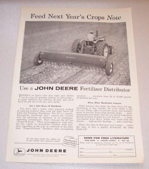 1958 Farm Print Ad John Deere LF Lime Fertilizer Distributor Farm Implement