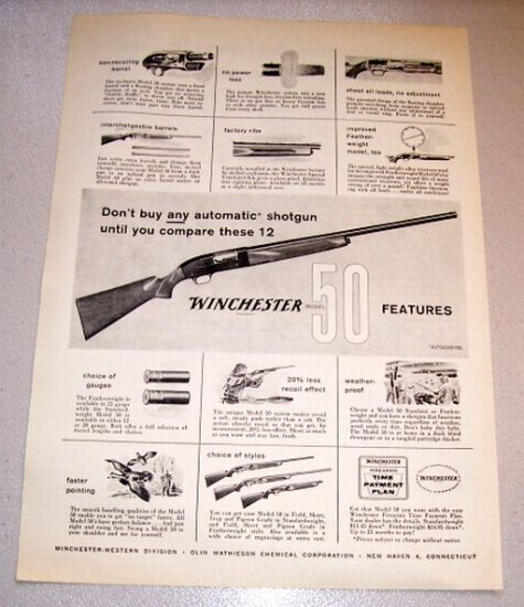 1958 Gun Print Ad Winchester Model 50 Automatic Shotgun