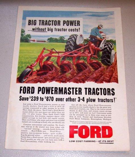 1958 Ford Powermaster Tractors Color Farm Art Print Ad