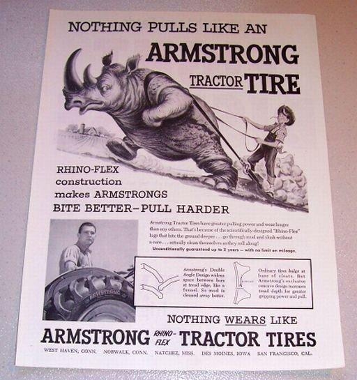 1955 Print Ad Armstrong Tractor Tires Rhinoceros Animal Art