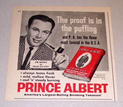1960 Print Ad Prince Albert Pipe Tobacco Grand Ole Opry Celebrity Jim Reeves
