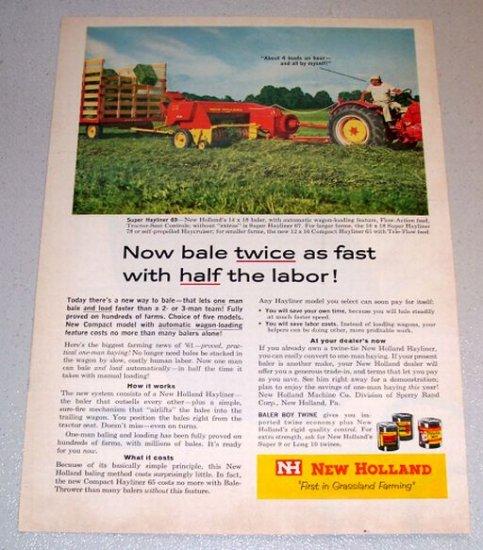 1961 Color Print Farm Ad New Holland Super Hayliner 69 Square Baler