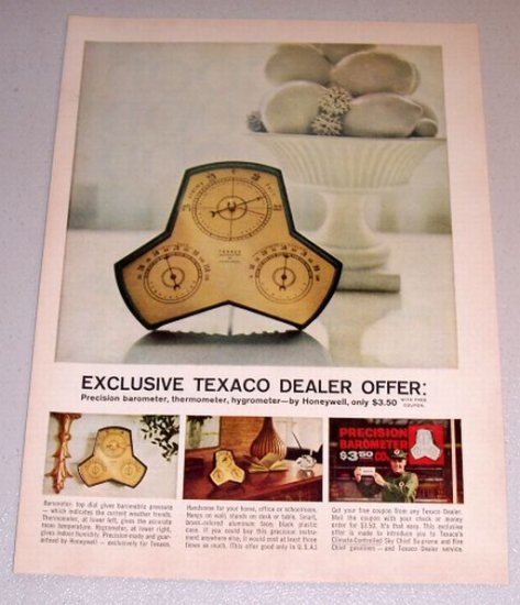 1961 Color Print Ad Texaco Dealer Honeywell Precision Barometer Offer