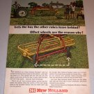 1966 Color Print Ad New Holland Rolabar Hay Rake Farm Implement