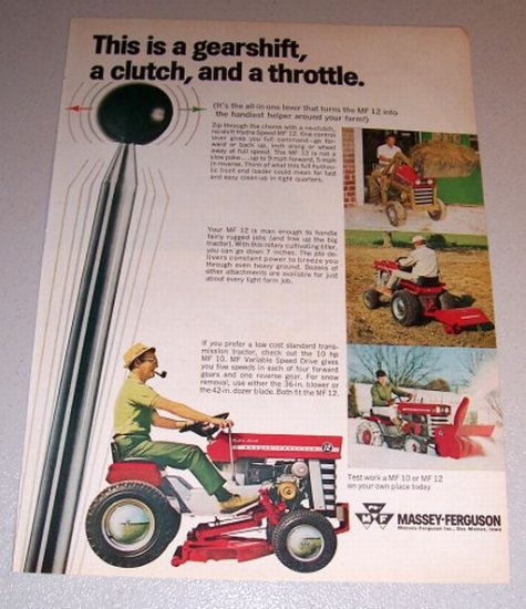 1968 color print ad mf massey ferguson hydra speed 12 lawn tractor