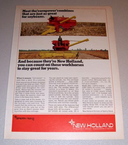 1968 Color Print Ad New Holland Model 975 985 Combines Farm Implement