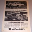 1968 Print Ad Chevrolet 3/4 Ton Fleetside Pickup Trucks