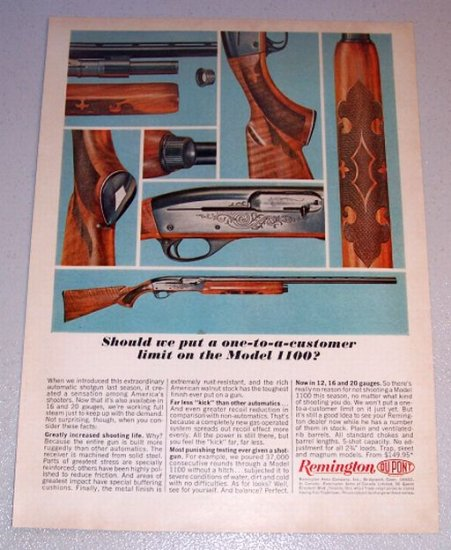 1964 Color Print Ad Remington Model 1100 Shotgun