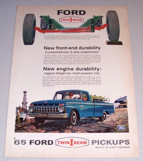 1965 Blue Ford Twin I Beam Pickup Truck Color Print Ad
