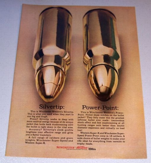 1965 Winchester Super X Super Speed Power Point Bullets Color Print Ad