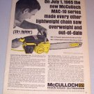 1965 McCulloch MAC 2-10 Chain Saw Print Ad