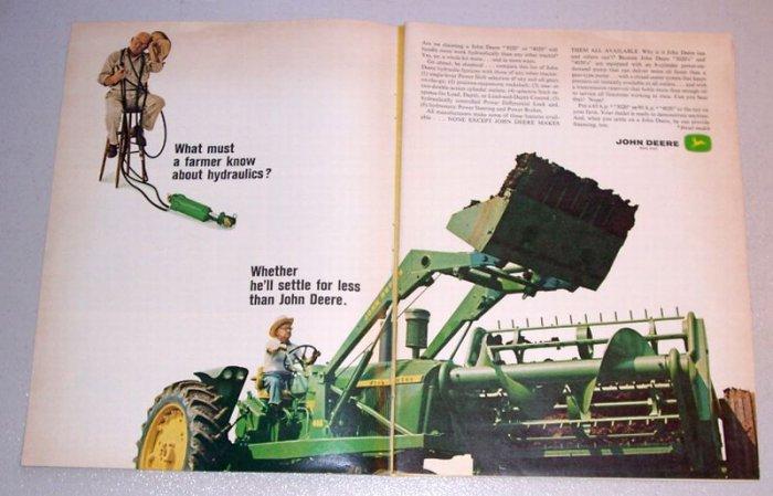 1965 John Deere 4020 Farm Tractor 2 Page Color Print Ad