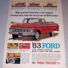 1963 Ford 100 Custom Cab Pickup Truck Color Print Ad