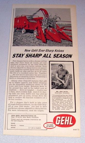 1962 Gehl All Chop Harvester Farm Implement Print Ad