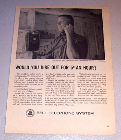 1963 Print Ad Bell Telephone System Gene Stephani Black Creek Wisconsin