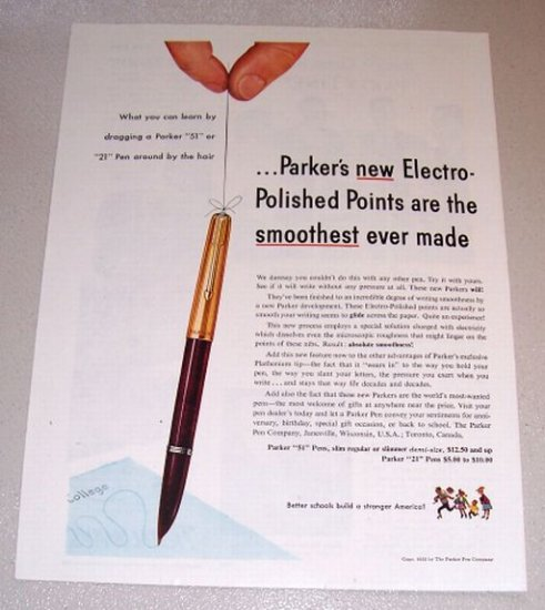1953 Color Print Ad Parker Fountain Pens