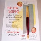 1953 Color Print Ad Eversharp Ventura Fountain Pen