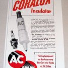 1953 Print Ad AC Coralox Insulator Spark Plugs