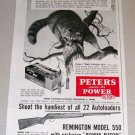 1953 Print Ad Peters 22 Long Rifle Cartridge Shells Racoon Animal Art