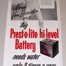 1953 Print Ad Prest-o-lite Battery Celebrity NFL Rams Quarterback Norm Van Brocklin