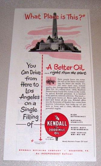 1953 Print Ad Kendall Motor Oil Lincoln Memorial