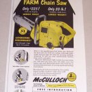 1953 Print Ad McCulloch Model 33 Farm Chain Saw