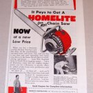 1953 Color Print Ad Homelite One Man Chain Saw