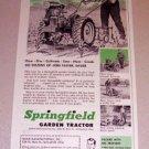 1953 Print Ad Springfield Garden Tractor