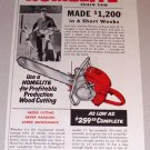 1954 Color Print Ad Homelite Model 17 Chain Saw Charlie Downs Rock Rift New York