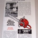 1954 Color Print Ad Homelite Model 5-30 Chain Saw Herbert Gordon Hein Waterloo Wisconsin