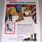 1954 B.F. Goodrich Subzero Farm Footwear Color Winter Farm Art Print Ad