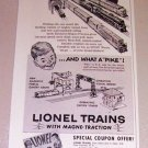 1954 Lionel Toy Train Locomotives Print Ad