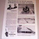 1954 Print Ad Champion Spark Plugs Houser Bill Davidson Fort Valley Georgia