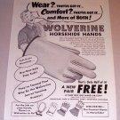 1954 Print Ad Wolverine Horsehide Hands Gloves