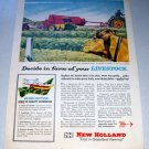 1958 New Holland Hayliner 68 Square Hay Baler Farm Implement Print Art Ad