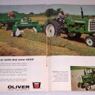 1966 Oliver 1550 Farm Tractor and 520 Hay Baler 2 Page Color Print Ad