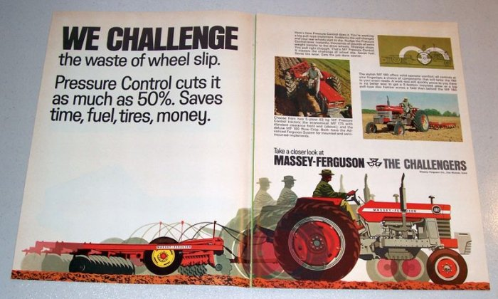 1968 Massey Ferguson 180 Farm Tractor Color Art Print Ad