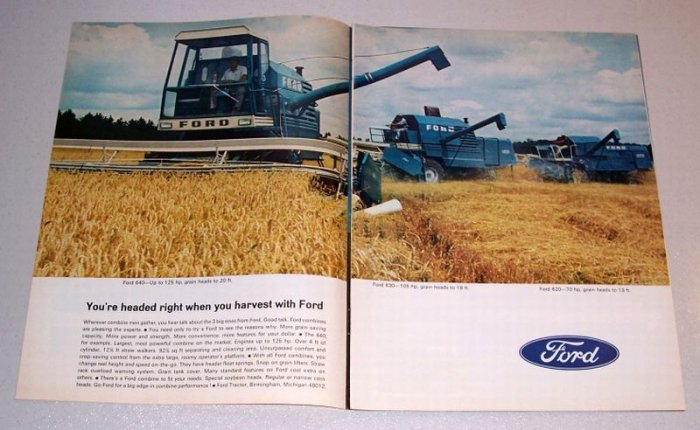 1968 Ford Grain Combines 2 Page Color Print Ad