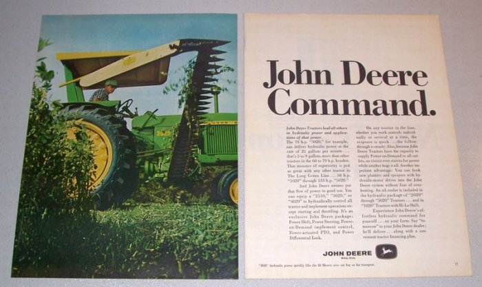 1968 John Deere 3020 Farm Tractor and 50 Mower 2 Page Color Print Ad